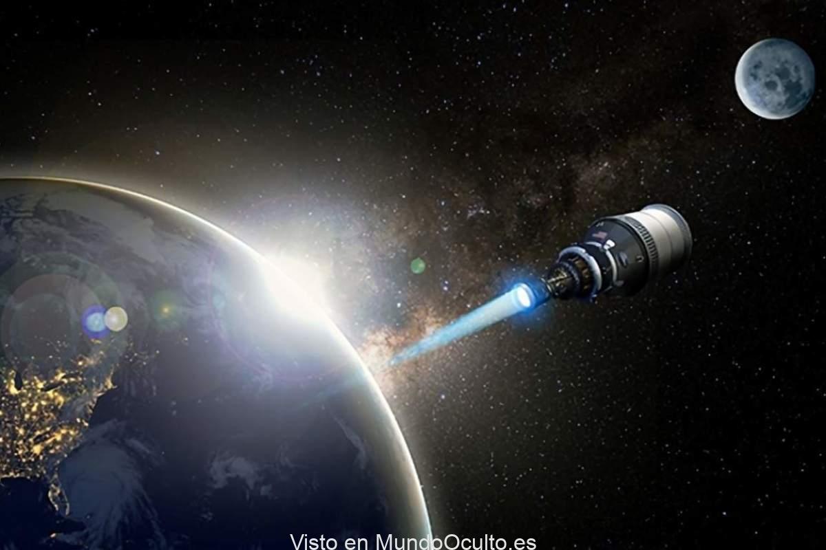Concepto artístico de una nave espacial de propulsión nuclear