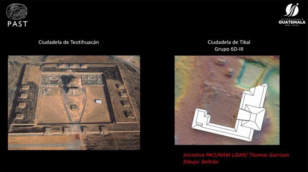 Una diapositiva de PACUNAM que compara la Ciudadela en Teotihuacan (izquierda) con la forma de la nueva estructura en Tikal