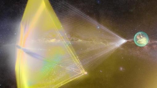 Concepto de vela láser para enviar «nanovaes» a Alfa Centauri
