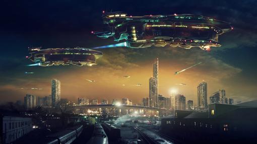 Paisaje de fantasía, con dos grandes naves espaciales en el cielo