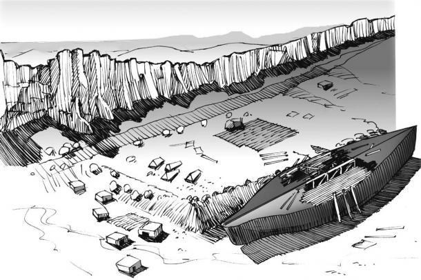 Boceto del lugar de aterrizaje en Mashu o Mesha Mountain cuando los sobrevivientes comenzaron a construir la primera ciudad posterior al Diluvio: Mesha. (Trato de David Allen).
