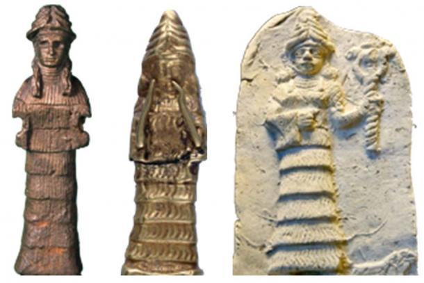 Los artistas antiguos deificaron a la esposa de Cam, la princesa Cainita Naamah (Génesis 4:22), identificándola con la montaña en la que aterrizó en el arca. En estas imágenes antiguas, ella usa un sombrero de montaña y su vestido especial tiene volantes y gradas, representando secciones del acantilado en la montaña. La imagen de Naamah a la derecha sostiene el bastón de la serpiente de dos cabezas que simboliza el gobierno de la serpiente antes del Diluvio, y ahora, debido a su dedicación Cainita, el gobierno de la serpiente se reanudó en el mundo posterior al Diluvio. (Autor proporcionado).